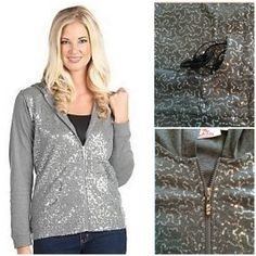 Adorable sequined zippered jacket Soft light weight hooded jacket with darling swirls of sequins featured on front! Crystals adorn the zipper pull. Small pockets on front. Sequins add that something extra without being too flashy. States size small but is a roomy medium! Please let me know if you have questions or need more photos NWOT Quacker Factory Jackets & Coats