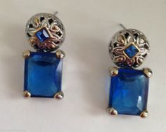 "Blue Glass Earrings Jewelry Square Design Hypoallergenic Posts 1"" L Metal New #DavenportDesigns #Studwithslightdangle"