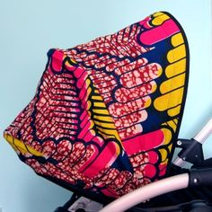 Amazing African print buggy hoods by Kirsty Kissell at Bootie Boutique