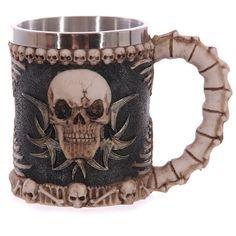 Skull Gothic Drinking Mug Tankard with Spine by getgiftideas