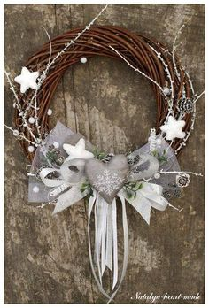 Branches colored white and silver, ribbons, tulle, pine cones and stars in polystyrene and a silver heart for a special Christmas. - hand made - craft - diy Wreath Crafts, Xmas Crafts, Diy Wreath, Door Wreaths, Diy And Crafts, Yarn Wreaths, Tulle Wreath, Floral Wreaths, Burlap Wreaths