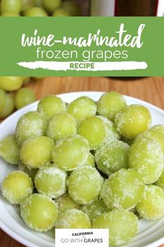 This wine-marinated frozen grapes recipe is a perfect summertime treat. Infuse California wine into grapes from California, then freeze, for bite-sized pool or beach desserts. Pool Snacks, Beach Snacks, Beach Meals, Beach Appetizers, Grape Recipes, Summer Recipes, Fruit Recipes, Fall Recipes, Dessert Recipes