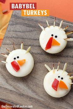 Babybel cheese turkeys Thanksgiving appetizer -- kid-friendly, fun food to serve on Thanksgiving. Easy to make, great for the kid's table. Appetizers For Kids, Thanksgiving Appetizers, Thanksgiving Turkey, Thanksgiving Recipes, Holiday Recipes, Holiday Appetizers, Party Appetizers, Thanksgiving Decorations, Thanksgiving Prayer