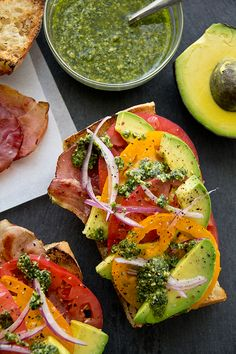 Colorful prosciutto and avocado salad on toast!