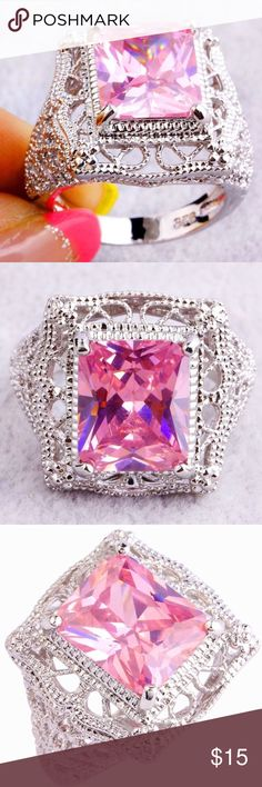 BIG & BEAUTIFUL PINK TOPAZ RING Pink Topaz and silver ring. This ring is huge and beautiful! New! Boutique. No tags attached though. Jewelry Rings