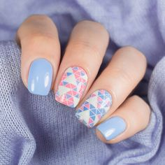 Pink and blue accent manicure by @super_gizmo || 20 incredible pink and blue nails: http://sonailicious.com/20-incredible-pink-and-blue-nails/