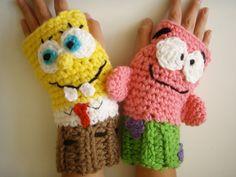 Sponge Bob & Patrick Fingerless Gloves Crochet by prettythings55