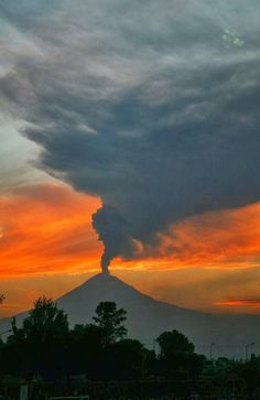 Volcano At Sunset, Mexico