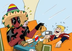 Deadpool, Ron, and Rufus at Beuno Nachos