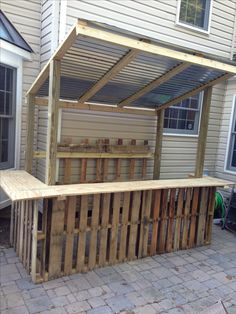 Construction is complete...base made with 3.5 pallets, rear wall is two more pallets and 2x4s, bar is 3/4 inch plywood, and roof is 3 sheets of corrugated tin
