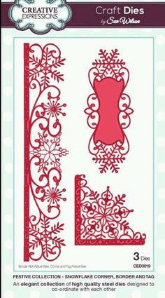 NEW 2015 CREATIVE EXPRESSIONS Craft Dies by Sue Wilson. SNOWFLAKE CNR BRDR & TAG