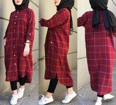 مدل مانتو چهارخونه جدید 2019 Tesettür Mayo Şort Modelleri 2020 - Tesettür Modelleri ve Modası 2019 ve 2020 Modest Fashion Hijab, Modern Hijab Fashion, Pakistani Fashion Casual, Street Hijab Fashion, Casual Hijab Outfit, Islamic Fashion, Hijab Chic, Muslim Fashion, Fashion Outfits