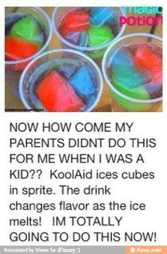 Babysitting ideas / ideas for me haha kool-aid ice cubes Comida Diy, Little Muffins, Party Hard, Party Fun, Ideas Party, Kid Drinks, Beverages, Summer Drinks Kids, Summer Fun For Kids