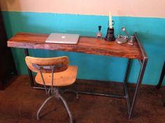 Modern Desk - Live Edge Pecan Slab Desk, Solid Wood  Metal - Beautiful Rustic Furniture- Contemporary/Modern Computer Desk or Sofa Table on Etsy