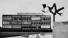 """WBS St. Alban (School) Basel, Switzerland; 1966-68  Walter Wurster, architect H. P. Studer, engineer (photography by Christian Baur)  see map related post + refurbishment project by Wyss + Santos (2007) via """"(Das) Werk, 56"""" (1969)"""