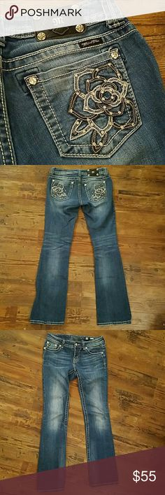 "Miss Me Boot Cut Jean Size 28 Miss Me Medium wash boot cut jean. Beautiful leather and lace rose pocket detail. Great condition. No rips, stains, tears or hem wear. Inseam 33.5"". Love these, they just don't fit me anymore. Miss Me Jeans Boot Cut"