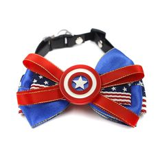 happycattag - Captain America cat Bow Tie, Designer Premium cat Bow Tie, Superhero cat Bowtie, Cat Dog Bow Tie Handcrafted High Quality Cotton Handmade Catbow Bowties Cat Kitten cat Accessories Collar Bow > To view further, visit now : Cat Collar, Harness and Leash