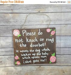 SALE :) Do not knock sign Sleeping baby sign new mom gift baby shower gift No…