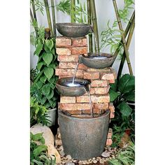 Stacked Bricks Cascading Fountain #gardenfountains