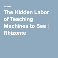 The Hidden Labor of Teaching Machines to See | Rhizome