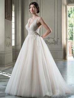 A-line wedding dress with detailed leaf lace applique over bodice onto tulle skirt. V-neckline and shimmery skirt. Unusual Dresses, Beautiful Dresses, Luxury Wedding Dress, Bodice, Neckline, Tulle Lace, Bridesmaid Dresses, Wedding Dresses, Friend Wedding