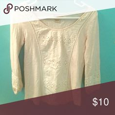 Lucky Brand 3/4 sleeve Cream Lace top. Size XS. Very light. Great for All season styles. Simply cute. Lucky Brand Tops Blouses