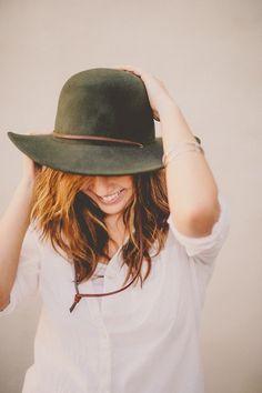olive hat/white shirt