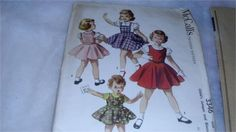 McCalls 3346 - Childs Jumper and Blouse Pattern - Size 3 Vintage pattern from 1955. Pattern is cut and in excellent cut condition. Pattern complete. Envelope is in good condition and intact. Any questions, please convo. My home is pet and smoke free.