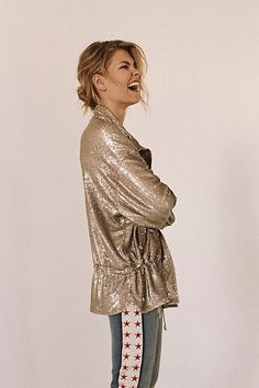 Slouchy Sequin Jacket | Free People
