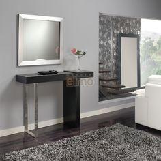 Console entrée noir et pied métal miroir assorti