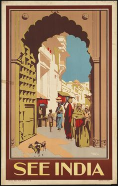 Vintage Poster Travel ad: India by British India Press, Bombay; designer Phanj B Sanyal Vintage India, Vintage Art, Vintage Prints, Vintage Advertising Posters, Vintage Travel Posters, Vintage Advertisements, Retro Poster, Poster Art, Poster Frames