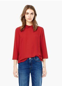 Bluse mit plissiertem kragen - Blusen für Damen | MANGO