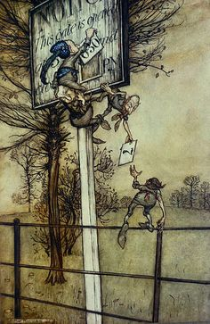 "These tricky fairies sometimes change the board on a ball night. Art by Arthur Rackham From the book ""Peter Pan in Kensington Gardens"" by J. M. Barrie. London: Hodder & Stoughton, 1906."