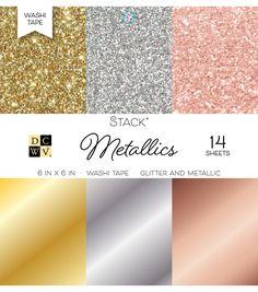 "DCWV Pack of 14 6""x6"" Glitter & Metallic Washi Tape Stack-Metallics"