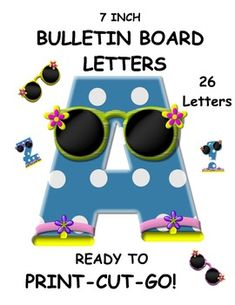This great set is perfect for the ocean or beach themed bulletin board or word wall. Set contains 26 upper case letters and 4 free full color sunglass pictures that can be used on the bulletin board. The set also contains ! and ?. Ready to print. Whether these are used with a back to school bulletin board or an end of the year bulletin board, these cute letters will brighten your classroom. The blue polka dots are bright and cheerful. $3.50