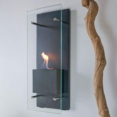 Nu-Flame Cannello 11.75 in. Wall-Mount Decorative Bio-Ethanol Fireplace in Matte Black