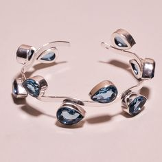 Faceted Swiss Blue Topaz Quartz  .925 Silver Handmade Bangle Cuff Jewelry H80 #Handmade