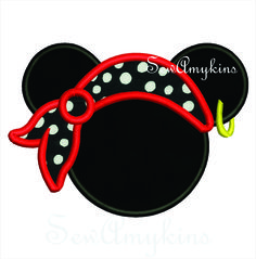 SewAmykins - Mickey Mouse Pirate hat applique 3 sizes, $4.00 (http://www.sewamykins.com/mickey-mouse-pirate-hat-applique-3-sizes/)