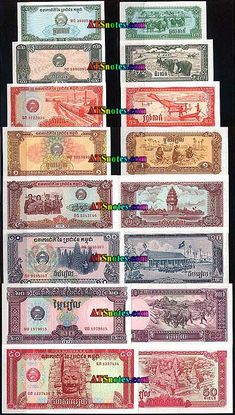 Cambodia banknotes, Cambodia paper money catalog and Cambodian currency history