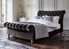 Handcrafted, fabric upholstered bed frame at a great value price, exclusive to Furniture Village. Upholstered in grey velvet fabric. Grey Headboard, Upholstered Bed Frame, Velvet Upholstered Bed, Bedroom Bed, Bedroom Furniture, Bedroom Decor, Dream Bedroom, Wood Furniture, Master Bedroom