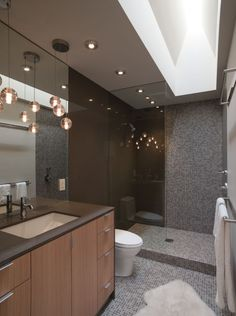 nice layout - shower stall, recessed lighting, light fixture, single basin (need to move toilet)