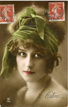 Original French vintage hand tinted photo postcard Flapper art deco lady