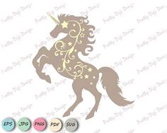 Unicorn with swirls clipart, Unicorn silhouette vector EPS, PNG, SVG, Unicorn card, Unicorn invitation, Unicorn nursery, Unicorn wall art