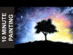 Painting a Shilouette of a Tree Infront of a Colourful Galaxy with Acrylics in 10 Minutes! - YouTube