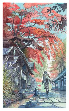 "Cover illustration for a magazine called ""Metro Guide"" being distributed thought metro stations in Tokyo from September 2017. Number of copies: around 1 000 000. This edition is autumn themed so I tried to make my illustration fit the contents with the colors and atmosphere. I used the Jindaiji temple and the shops that surround it as an inspiration for the setting. 「メトロガイド」の2017年10月号の表紙を担当しました! 今回の雑誌のテーマは秋なので、綺麗な紅葉や豊かな雰囲気を再現しながら描いてみたイラストです。深大寺の周りのお店通りが設定の元になってます。 Tools: * Lines: Mitsu-bishi"