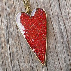Antique Brass Red Seed Bead Resin Heart Pendant $20