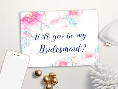 Printable Bridesmaid Cards, Will you be my Bridesmaid Printable, Floral Bridesmaid Proposal Card, Maid of Honor & Matron of honor - pinned by pin4etsy.com