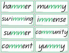 Phonics Words to Match Phonics Charts