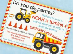CONSTRUCTION Party Invitation - Gwynn Wasson Designs PRINTABLES. $15.00, via Etsy.