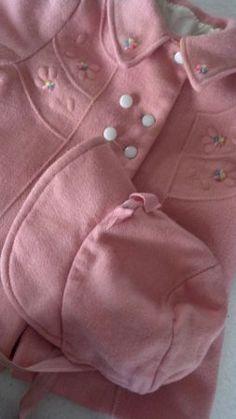Vintage pink coat and bonnet set.